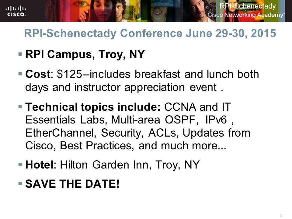 RPI-Schenectady Conference June 29-30, 2015