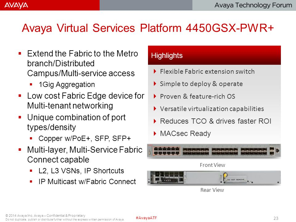 Avaya Virtual Services Platform 4450GSX-PWR+