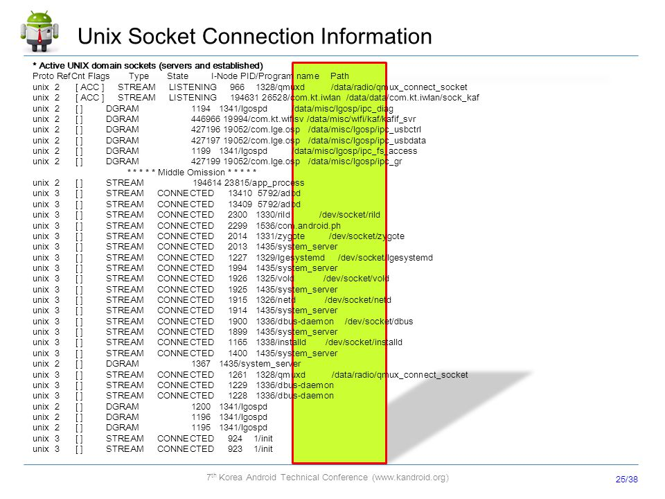 Unix Socket Connection Information