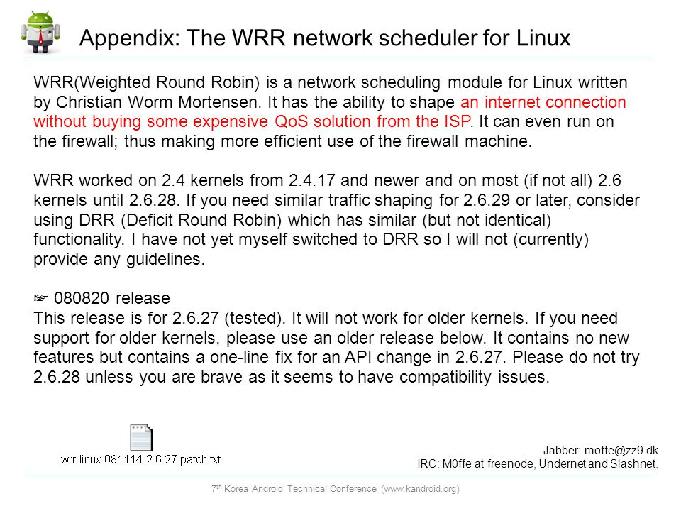 Appendix: The WRR network scheduler for Linux