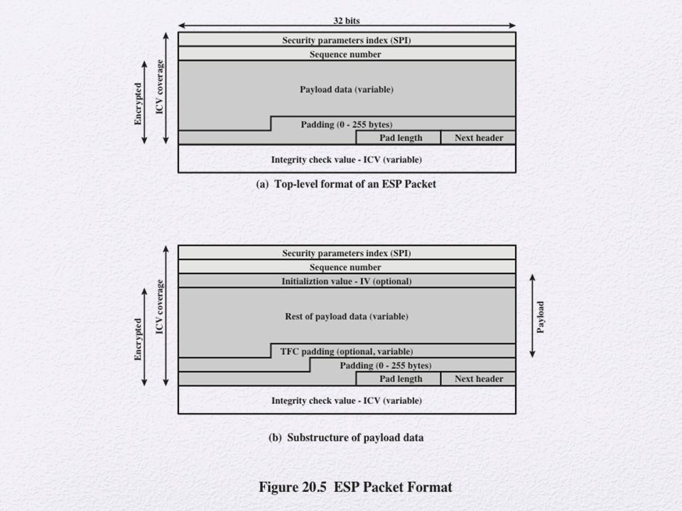 Figure 20. 5a shows the top-level format of an ESP packet