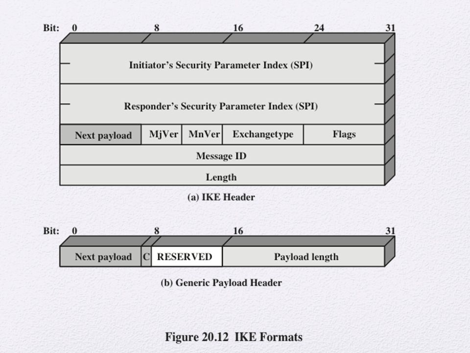 Figure 20. 12a shows the header format for an IKE message