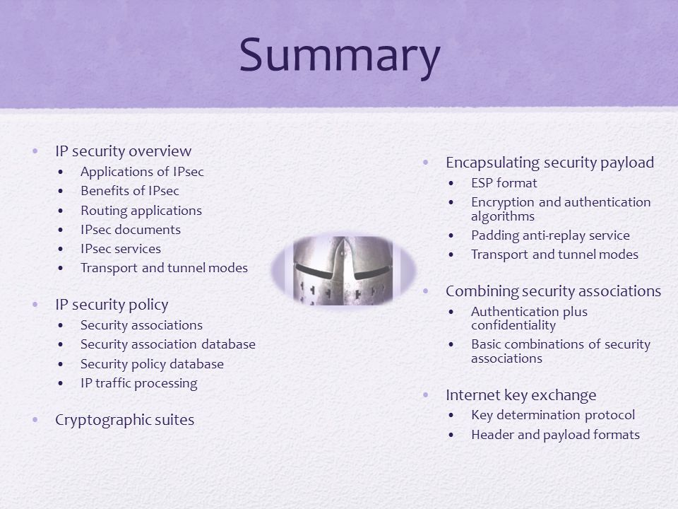 Summary IP security overview Encapsulating security payload