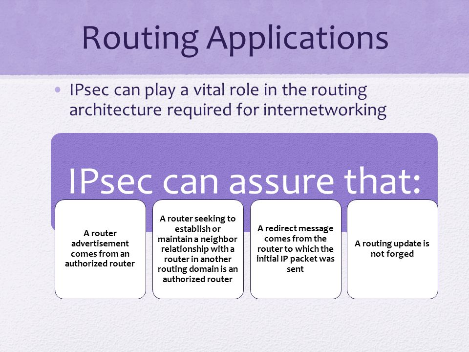 IPsec can assure that: Routing Applications