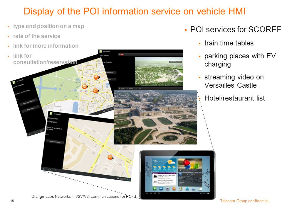 Display of the POI information service on vehicle HMI