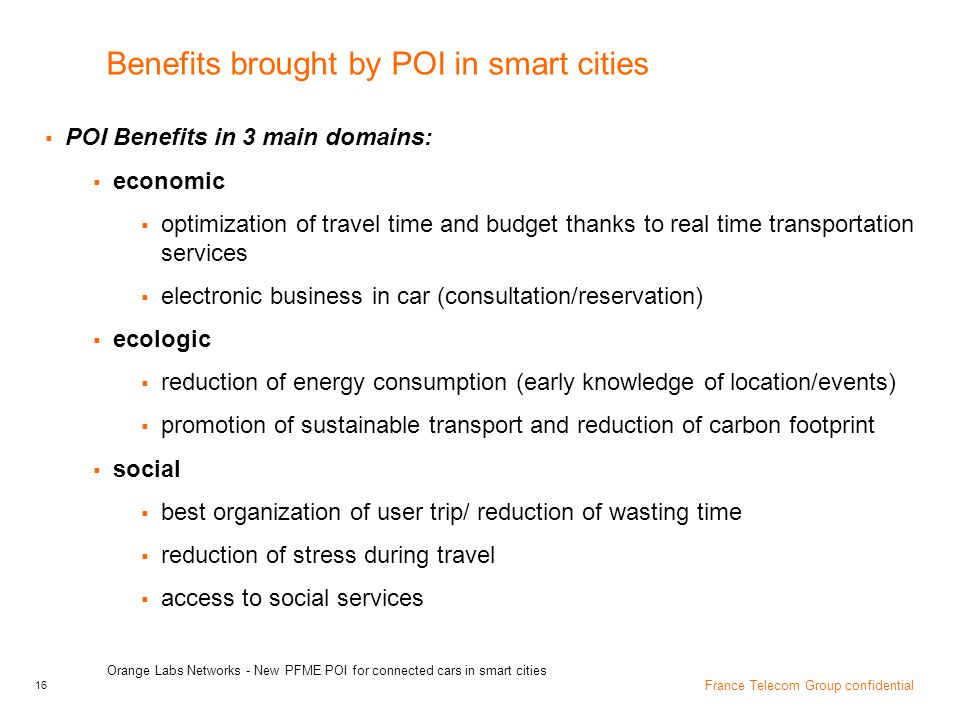 Benefits brought by POI in smart cities