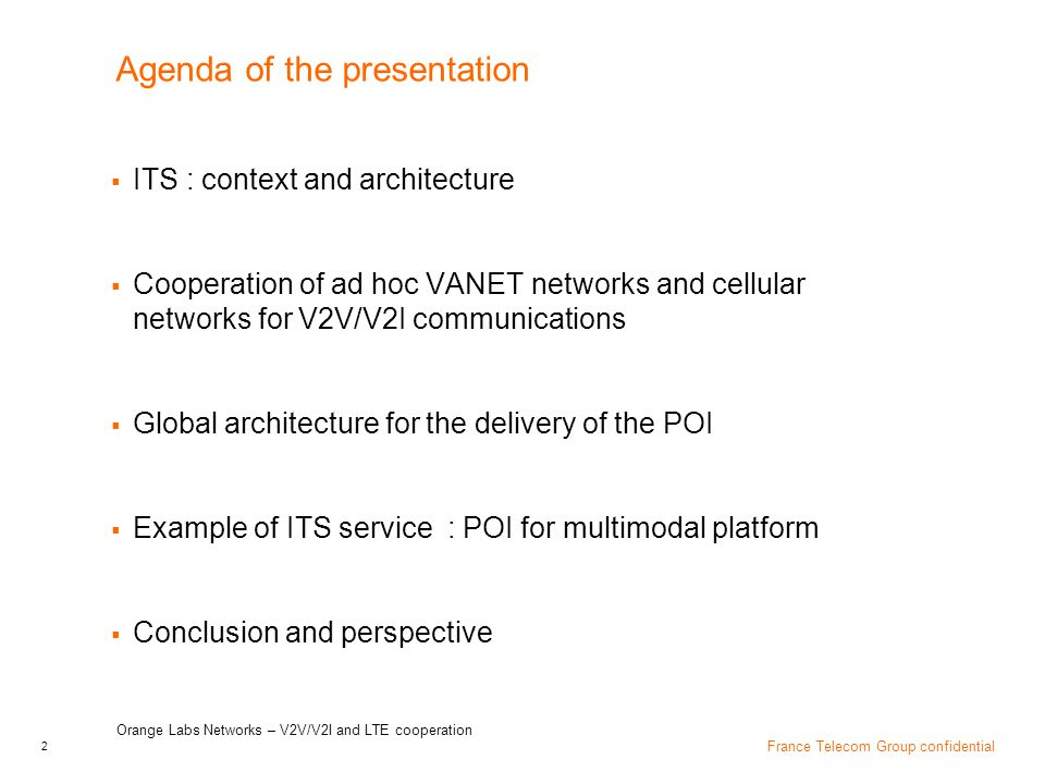 Agenda of the presentation