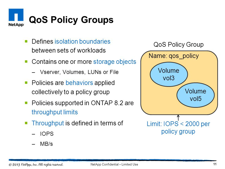 QoS Policy Groups Defines isolation boundaries between sets of workloads. Contains one or more storage objects.