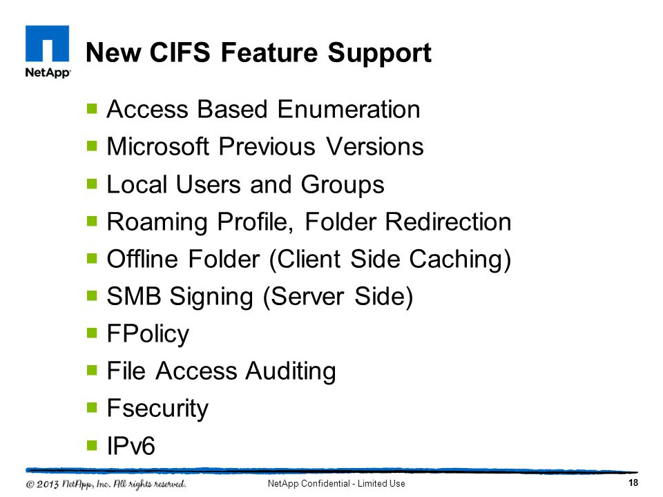 New CIFS Feature Support