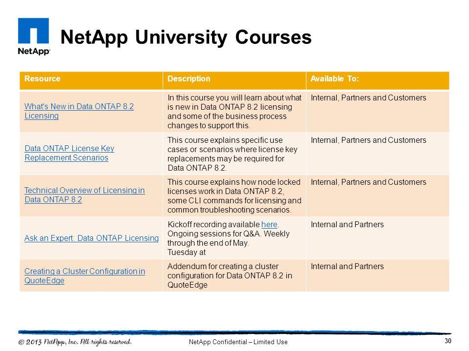 NetApp University Courses