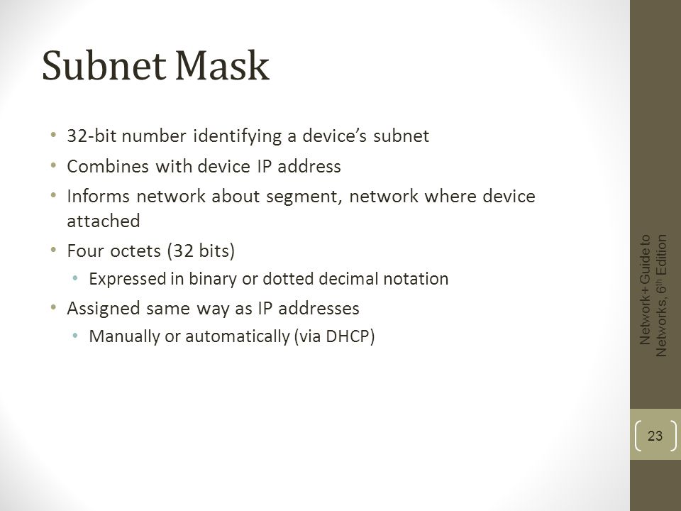 Subnet Mask 32-bit number identifying a device's subnet