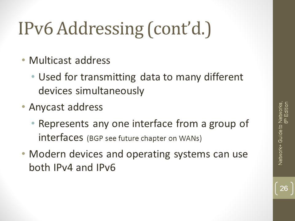 IPv6 Addressing (cont'd.)