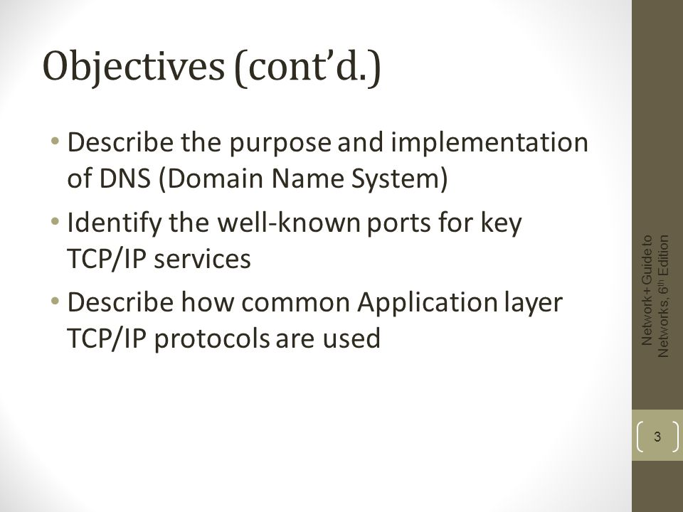 Objectives (cont'd.) Describe the purpose and implementation of DNS (Domain Name System) Identify the well-known ports for key TCP/IP services.