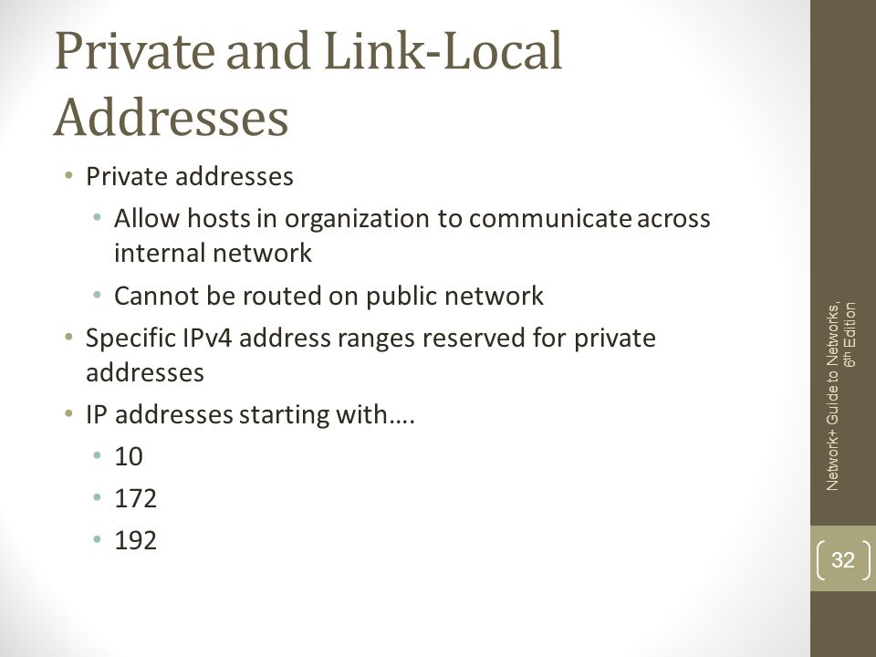 Private and Link-Local Addresses