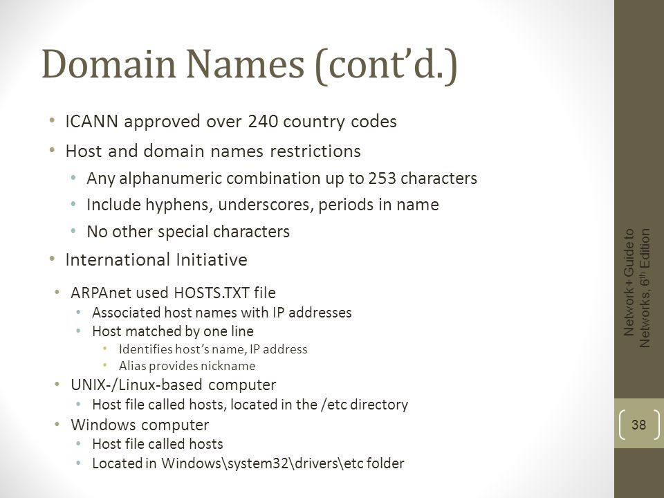 Domain Names (cont'd.) ICANN approved over 240 country codes