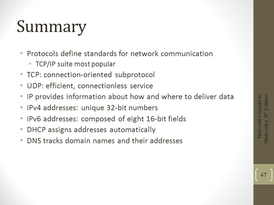 Summary Protocols define standards for network communication