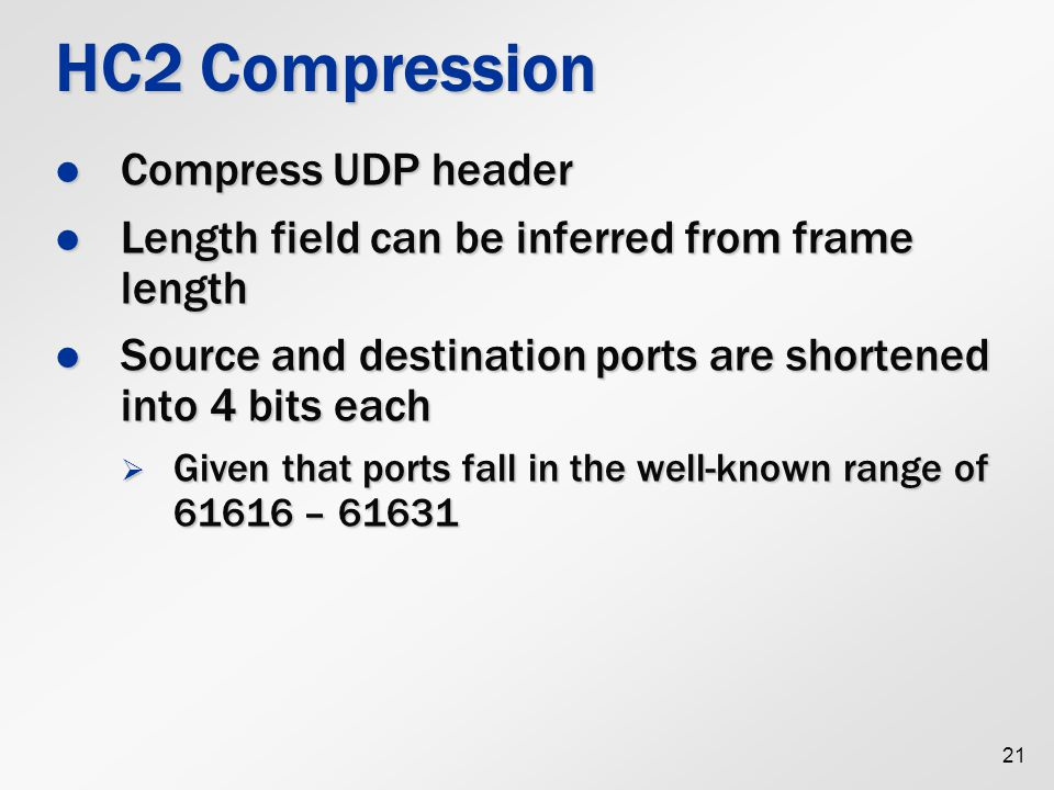 HC2 Compression Compress UDP header