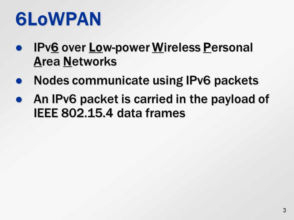 6LoWPAN IPv6 over Low-power Wireless Personal Area Networks