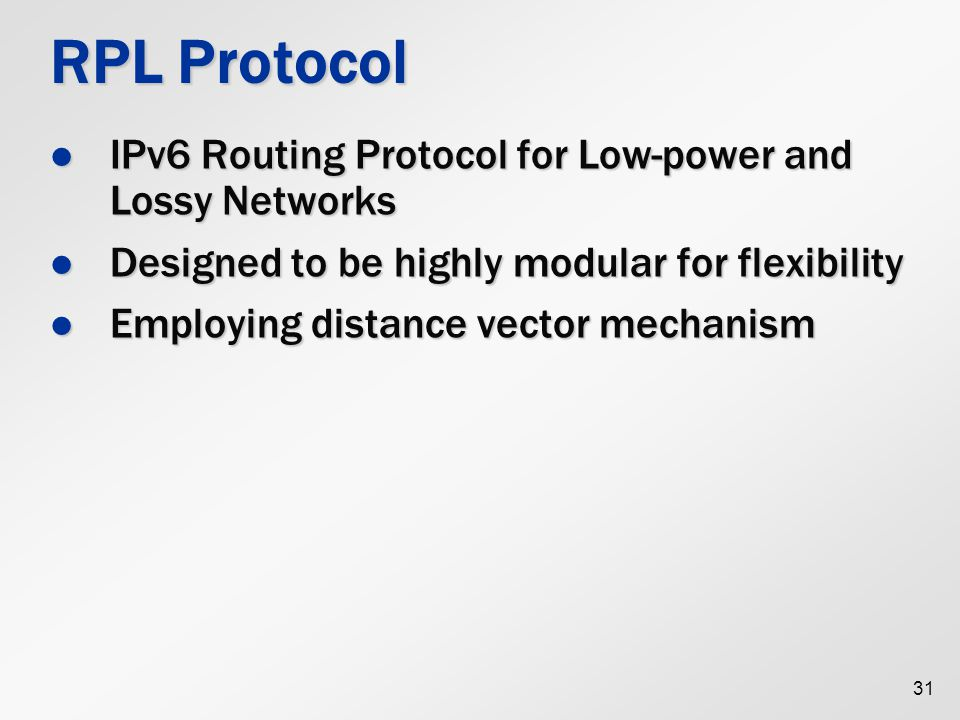 RPL Protocol IPv6 Routing Protocol for Low-power and Lossy Networks