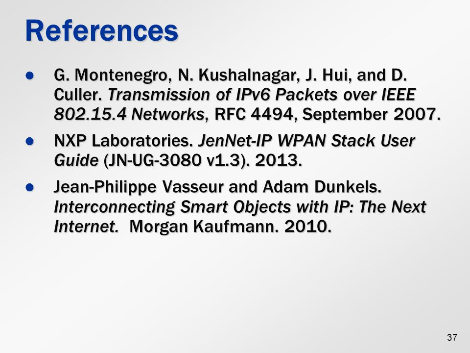 References G. Montenegro, N. Kushalnagar, J. Hui, and D. Culler. Transmission of IPv6 Packets over IEEE 802.15.4 Networks, RFC 4494, September 2007.