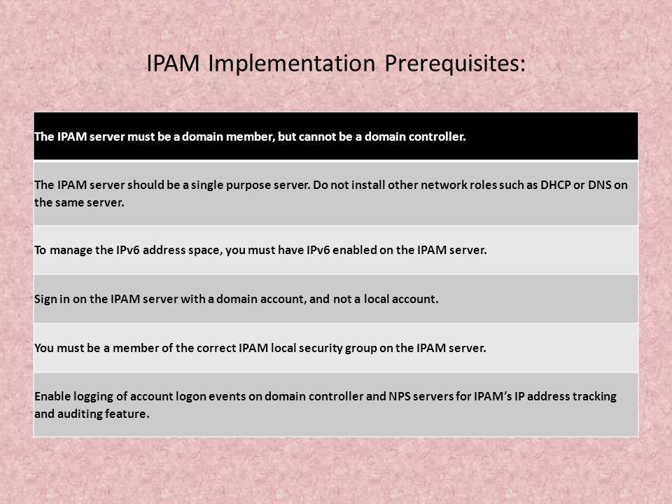 IPAM Implementation Prerequisites: