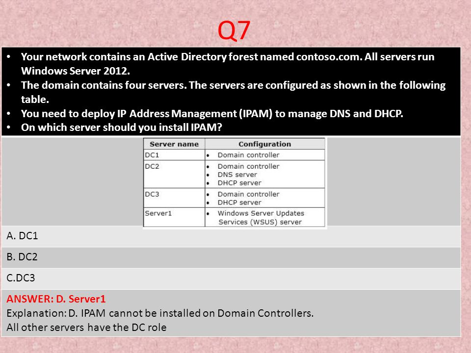 Q7 Your network contains an Active Directory forest named contoso.com. All servers run Windows Server 2012.