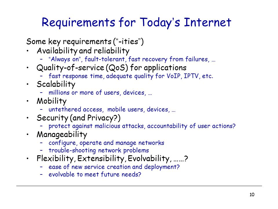 Requirements for Today's Internet