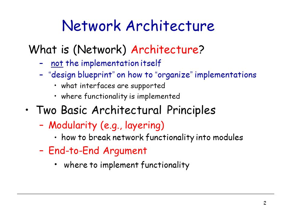 Network Architecture What is (Network) Architecture