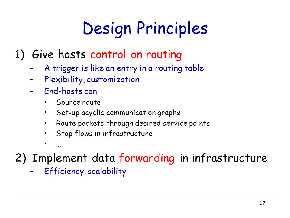 Design Principles Give hosts control on routing