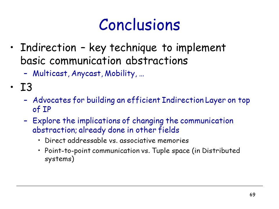 Conclusions Indirection – key technique to implement basic communication abstractions. Multicast, Anycast, Mobility, …