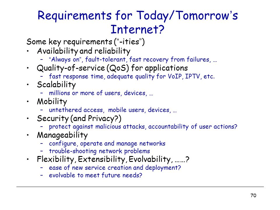 Requirements for Today/Tomorrow's Internet