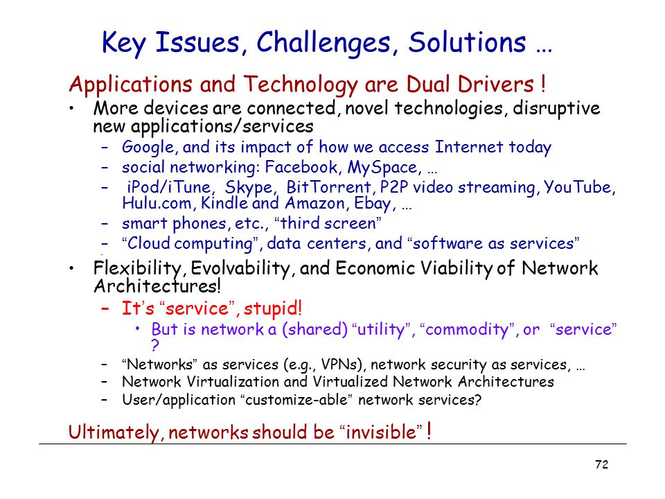 Key Issues, Challenges, Solutions …