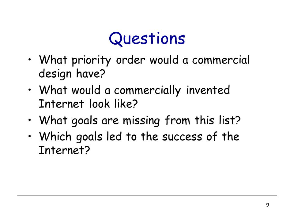 Questions What priority order would a commercial design have