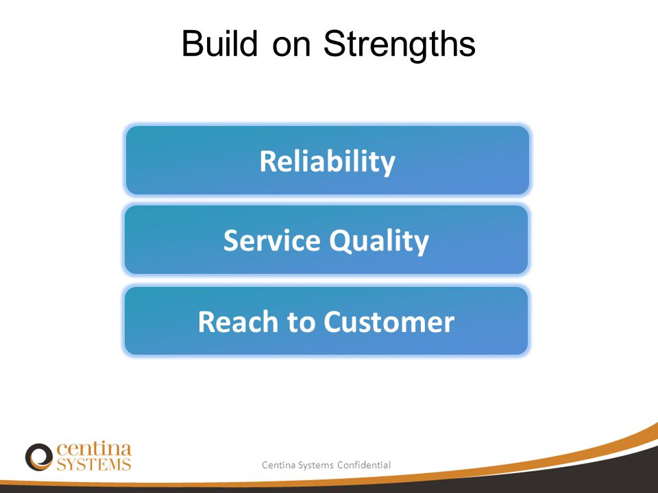 Build on Strengths Reliability Service Quality Reach to Customer