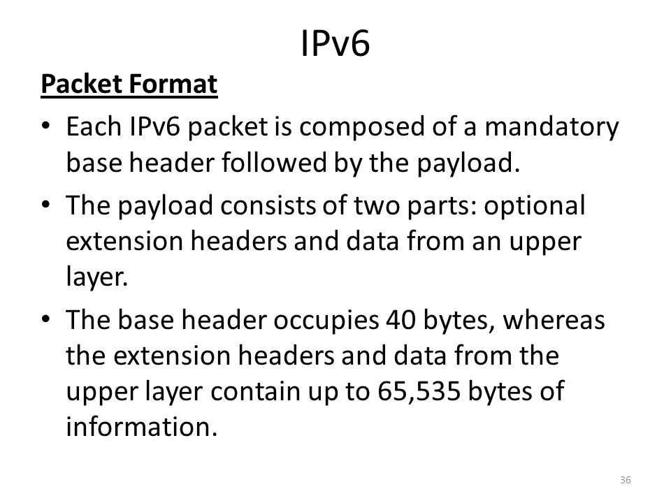 IPv6 Packet Format. Each IPv6 packet is composed of a mandatory base header followed by the payload.