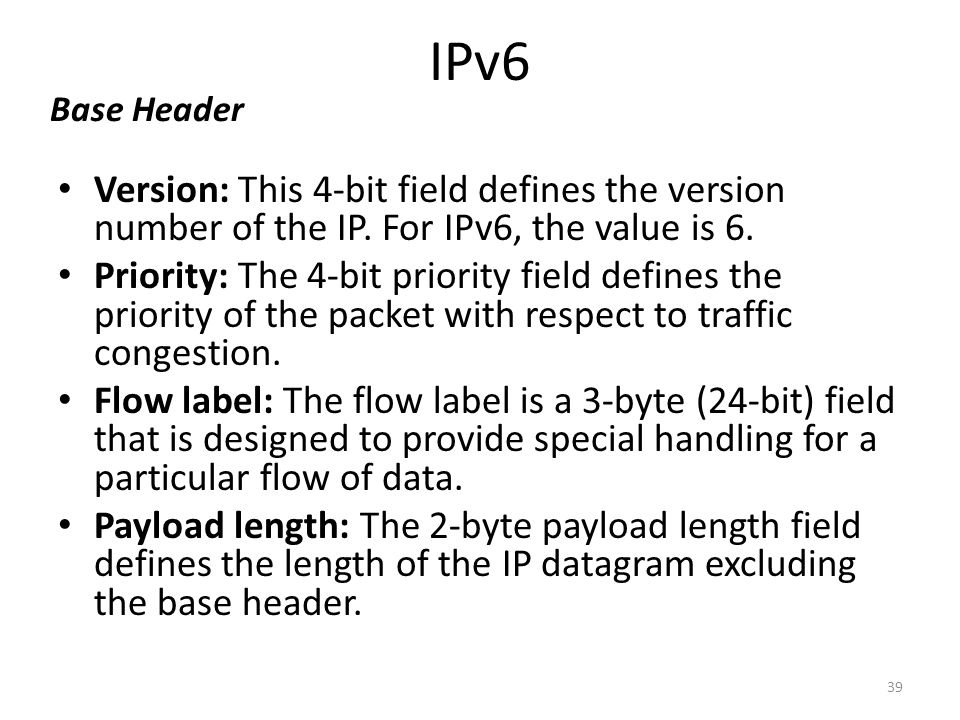 IPv6 Base Header. Version: This 4-bit field defines the version number of the IP. For IPv6, the value is 6.