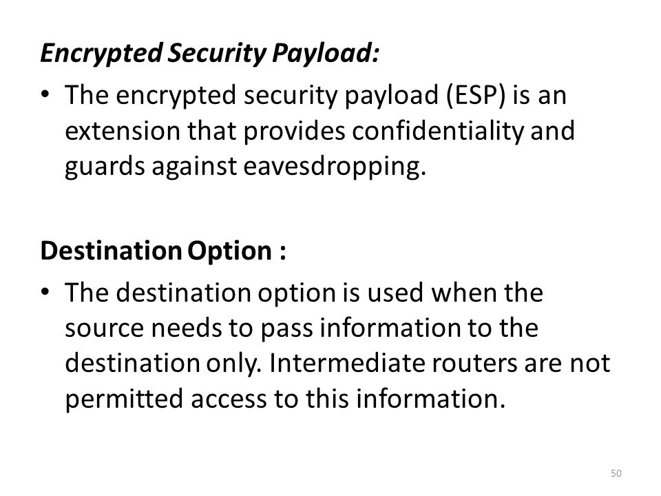 Encrypted Security Payload: