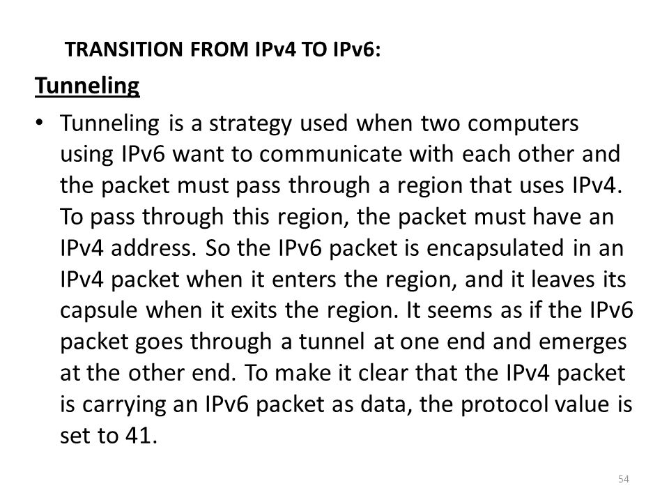 TRANSITION FROM IPv4 TO IPv6: