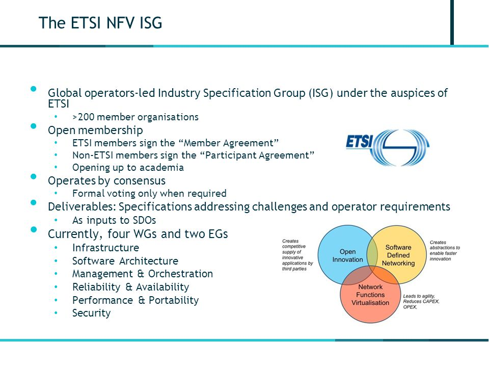 The ETSI NFV ISG Currently, four WGs and two EGs