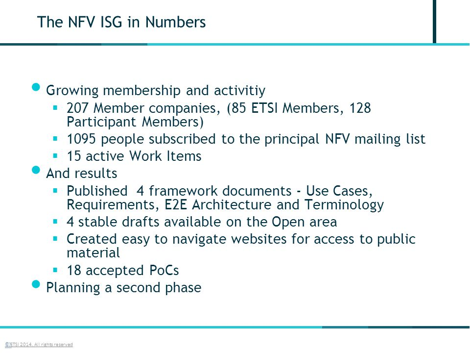 The NFV ISG in Numbers Growing membership and activitiy