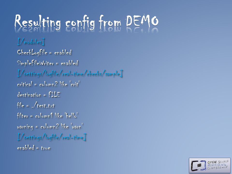 Resulting config from DEMO