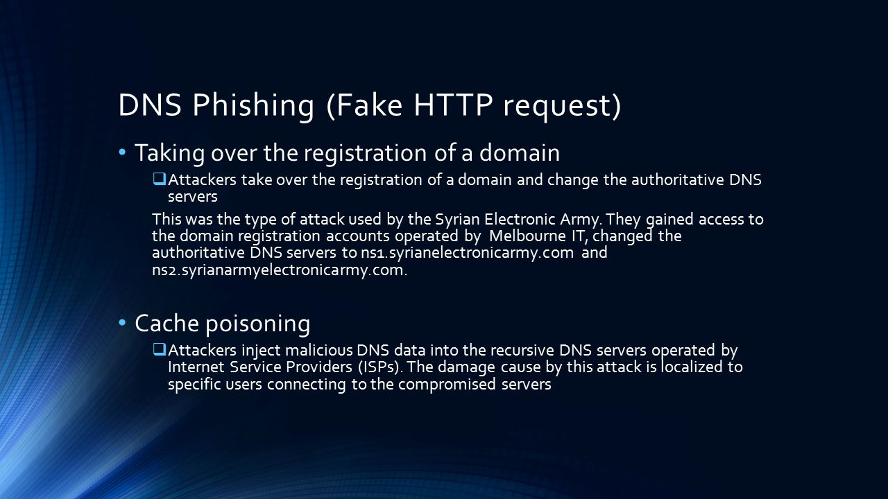 DNS Phishing (Fake HTTP request)
