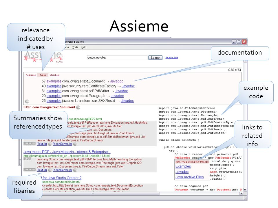 Assieme relevance indicated by # uses documentation example code