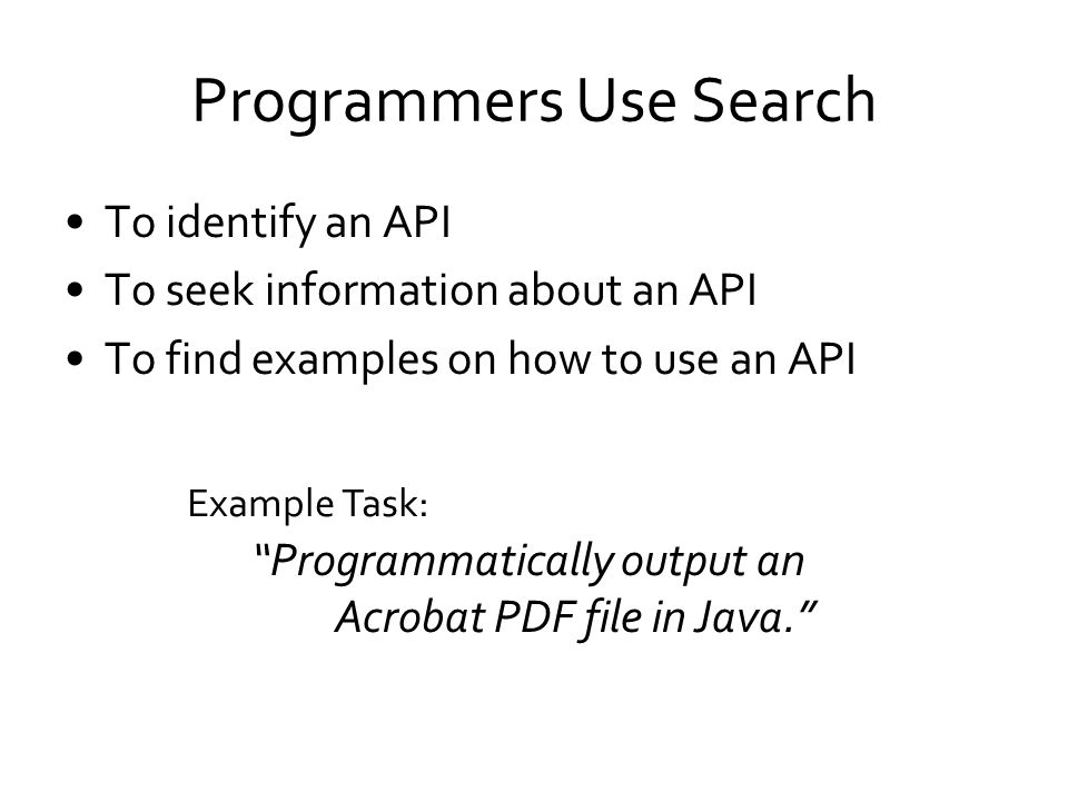 Programmers Use Search