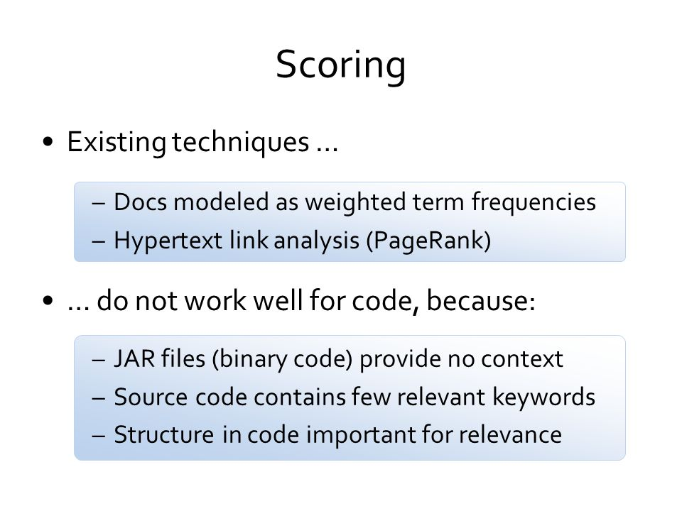 Scoring Existing techniques … … do not work well for code, because: