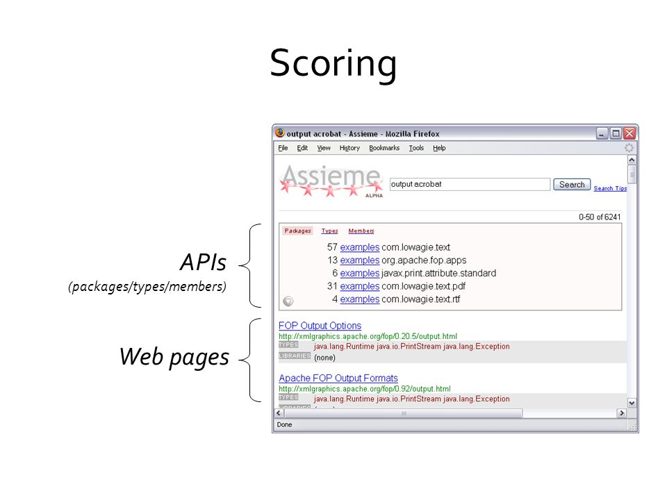 Scoring APIs Web pages (packages/types/members)