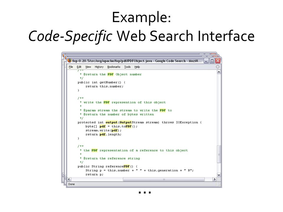 Example: Code-Specific Web Search Interface