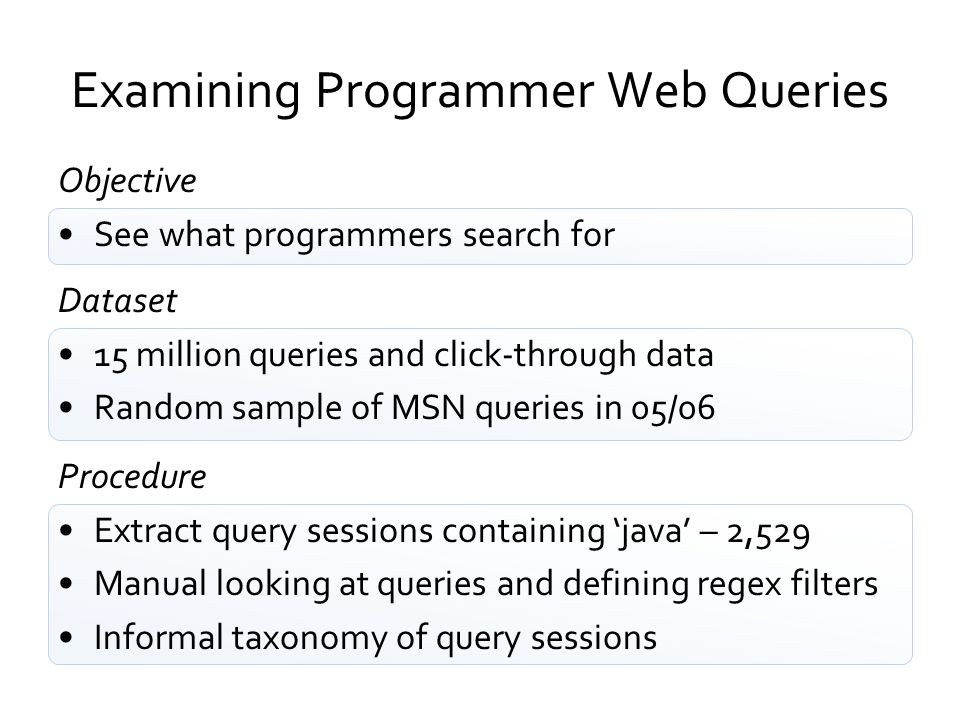 Examining Programmer Web Queries