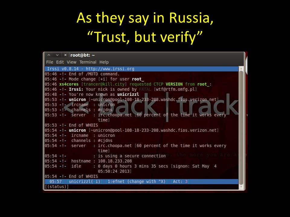 As they say in Russia, Trust, but verify
