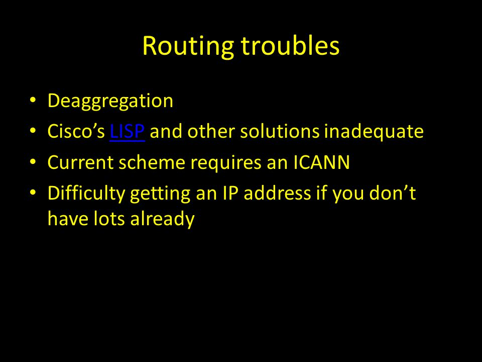 Routing troubles Deaggregation